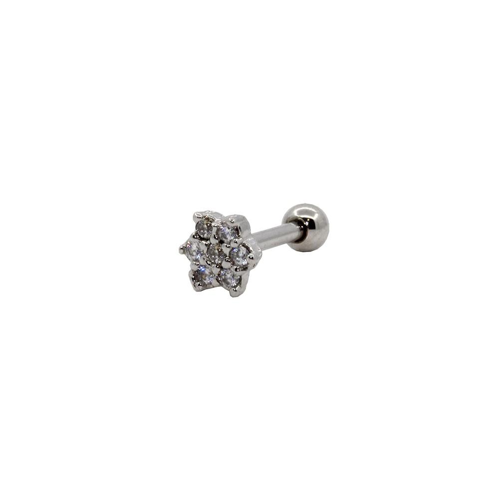 Piercing Helix Tragus Prata 925 flor 7 Pedras