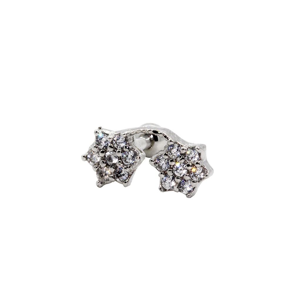 Piercing Cartilagem Prata 925 flor Dupla