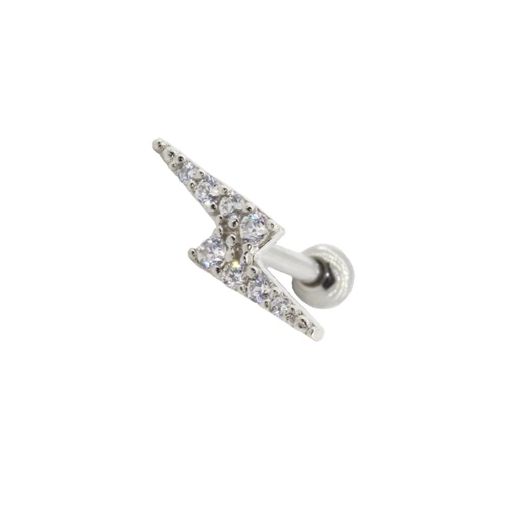 Piercing Helix - Tragus Prata 925 Raio Cravejado