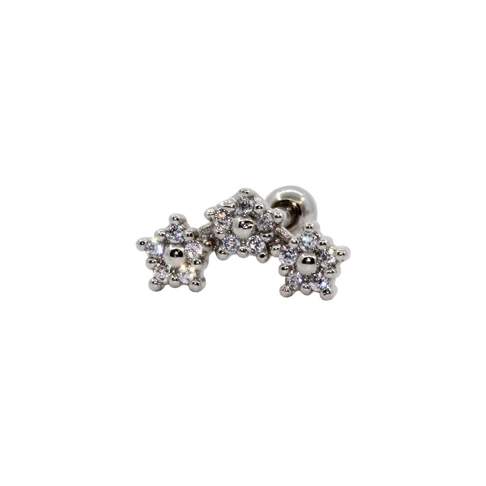 Piercing Cartilagem Prata 925 Três flores c/ Pedra