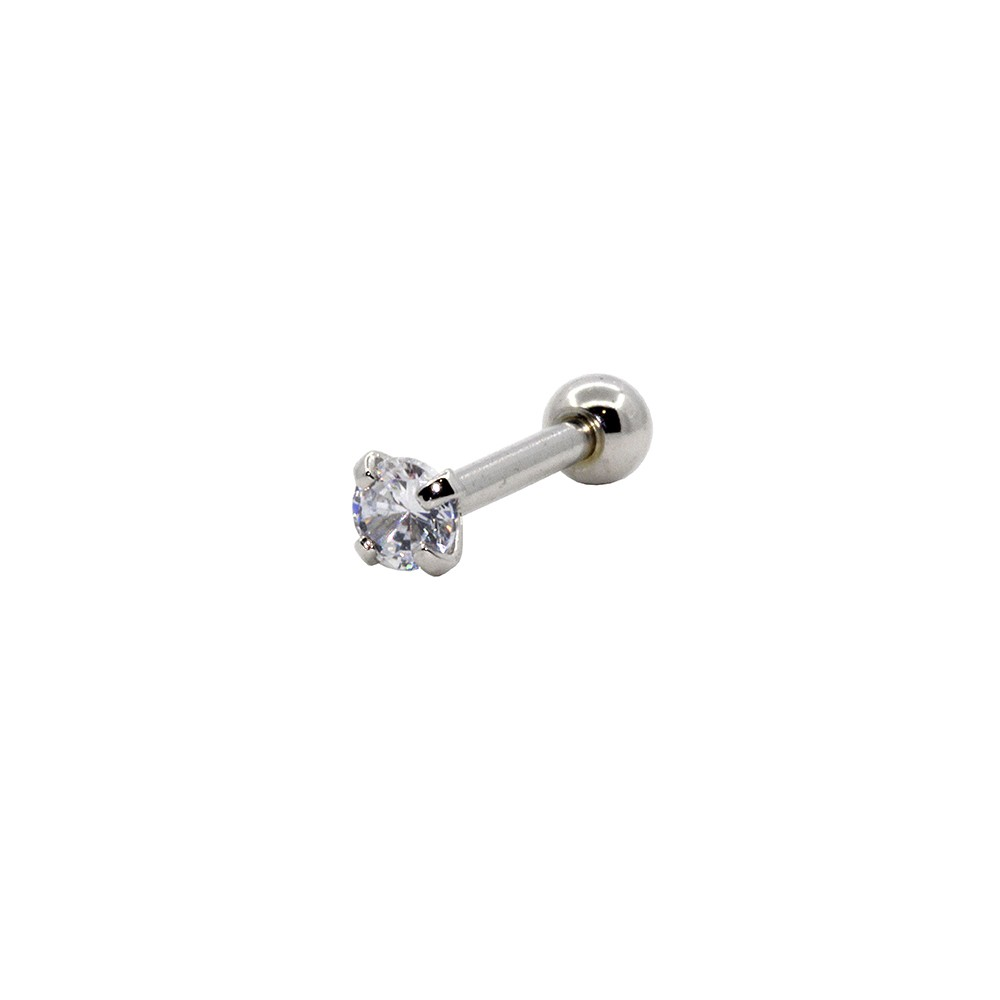 Piercing Cartilagem Prata 925 Zirconia Redonda 3mm
