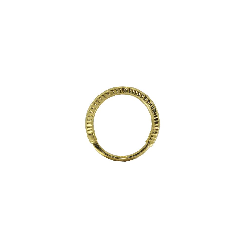 Piercing Septo em Ouro 18k Argola Segmentada Oca Facetada