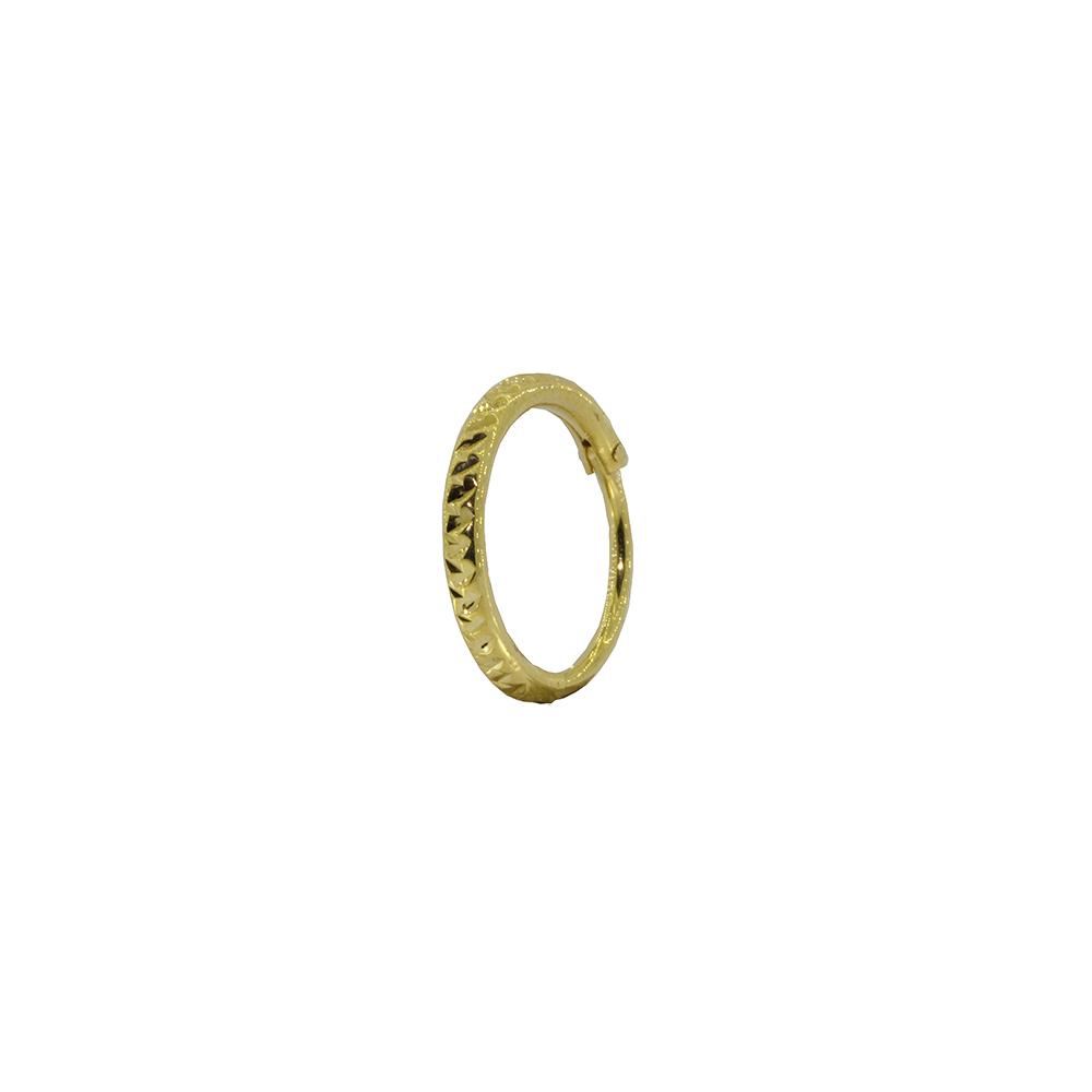 Piercing Conch em Ouro 18k Argola Segmentada Oca Facetada