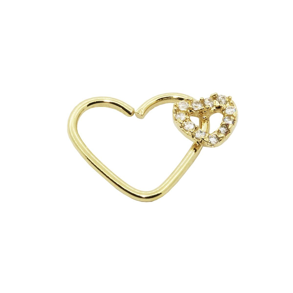 Piercing de Cartilagem Daith em Ouro 18k Coração Duplo