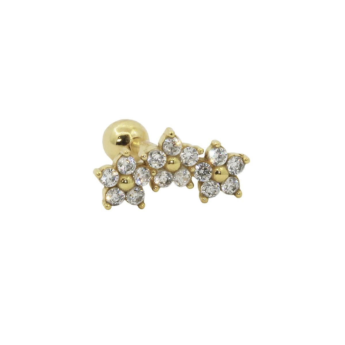 Piercing de Helix em Ouro 18k 3 Flores Pedra Branca