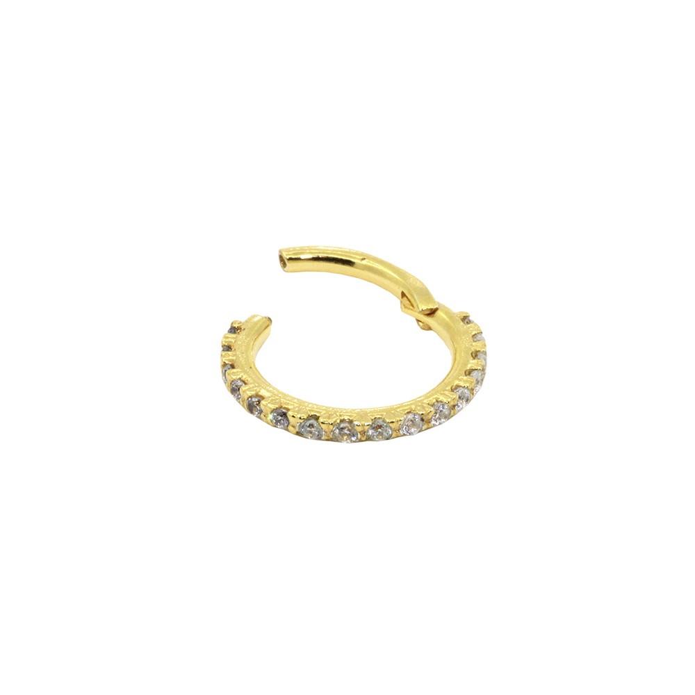 Piercing Helix em Ouro 18k Argola Cravejada Segmentada