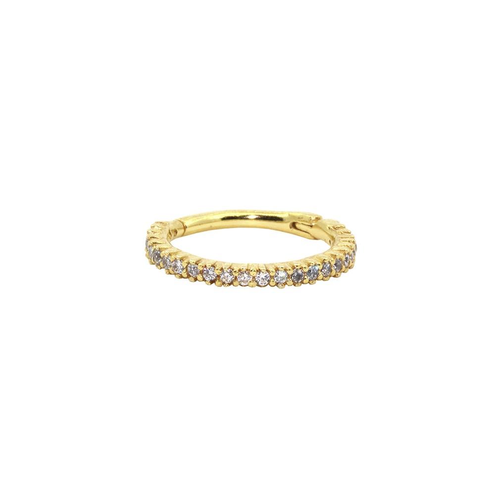 Piercing Conch em Ouro 18k Argola Segmentada Cravejada