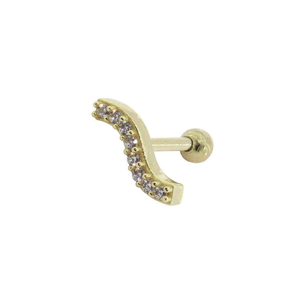Piercing de Cartilagem em Ouro 18k Cluster Curvo