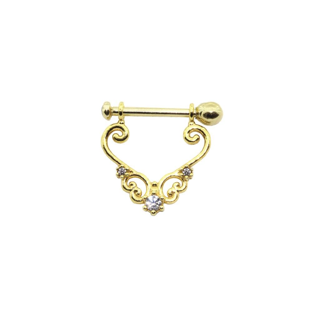 Piercing Helix em Ouro 18k Com Pedra e Haste