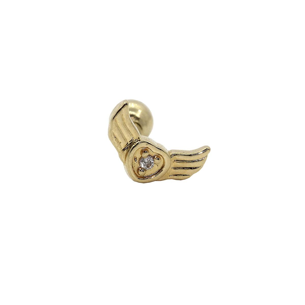 Piercing Helix - Tragus em Ouro 18k Coração Alado