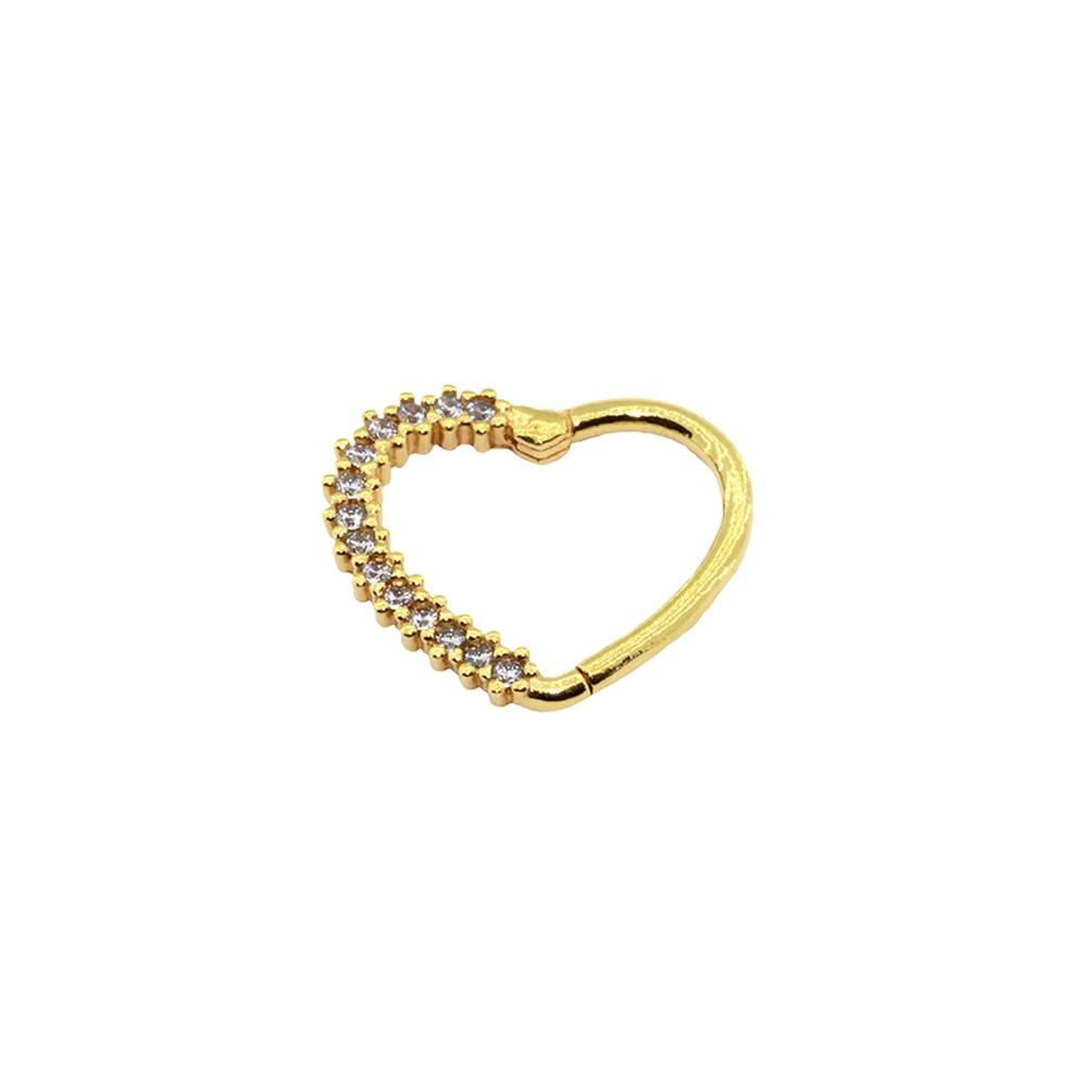 Piercing Daith em Ouro 18k Coração Cravejado Segmento