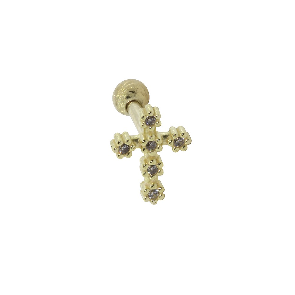 Piercing de Cartilagem em Ouro 18k Crucifixo com Zirconia