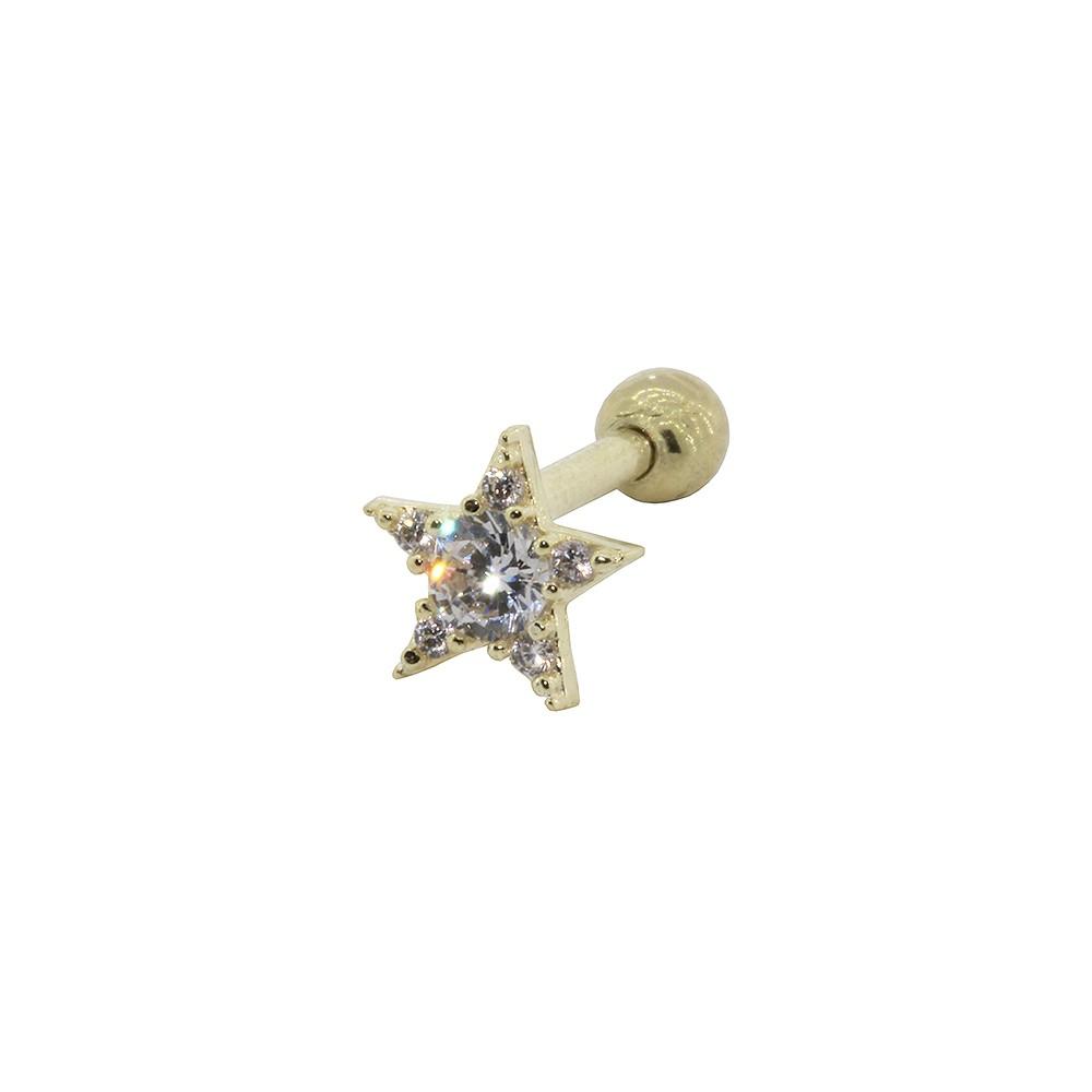 Piercing Helix em Ouro 18k Estrela com Zirconia