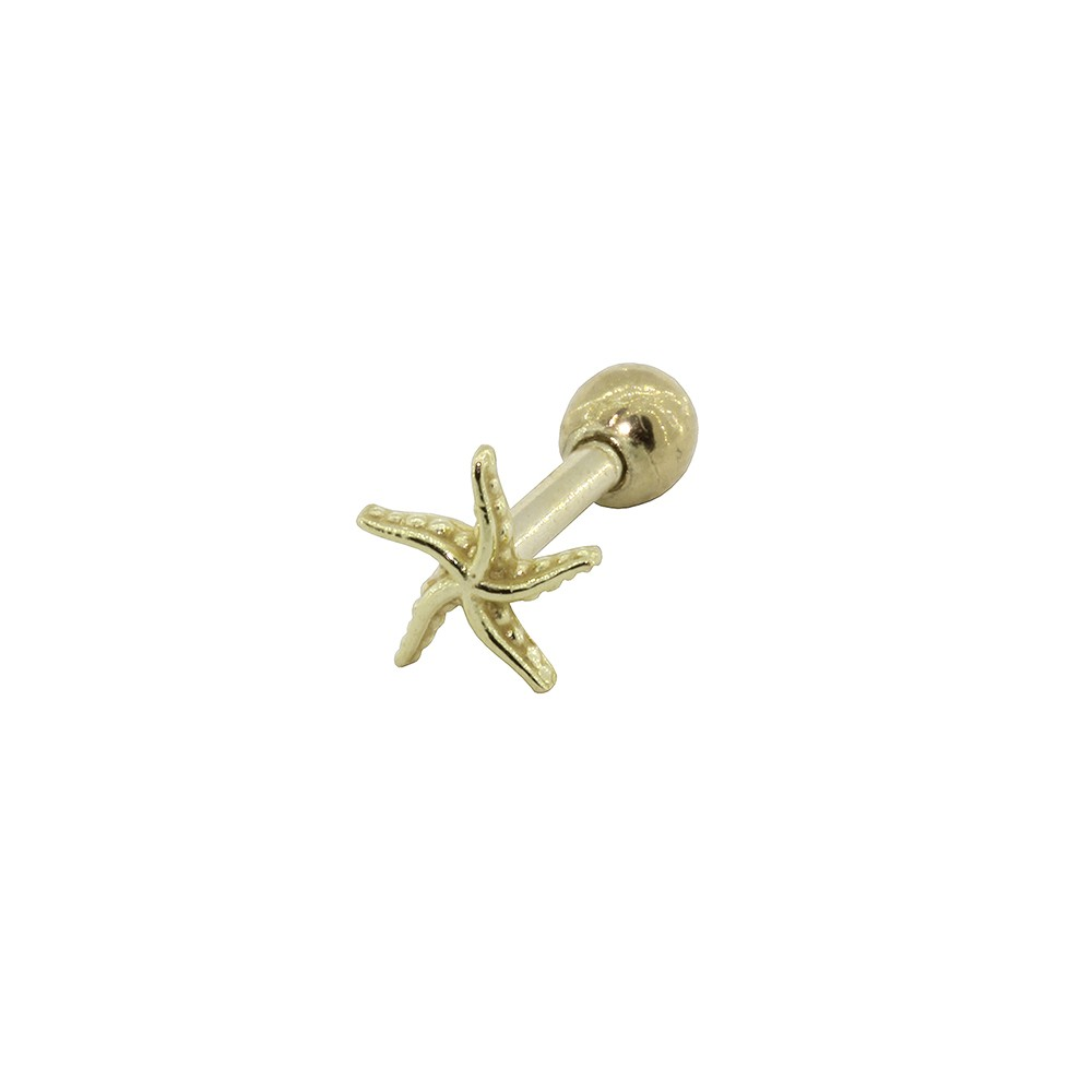 Piercing Helix - Tragus em Ouro 18k Estrela do Mar