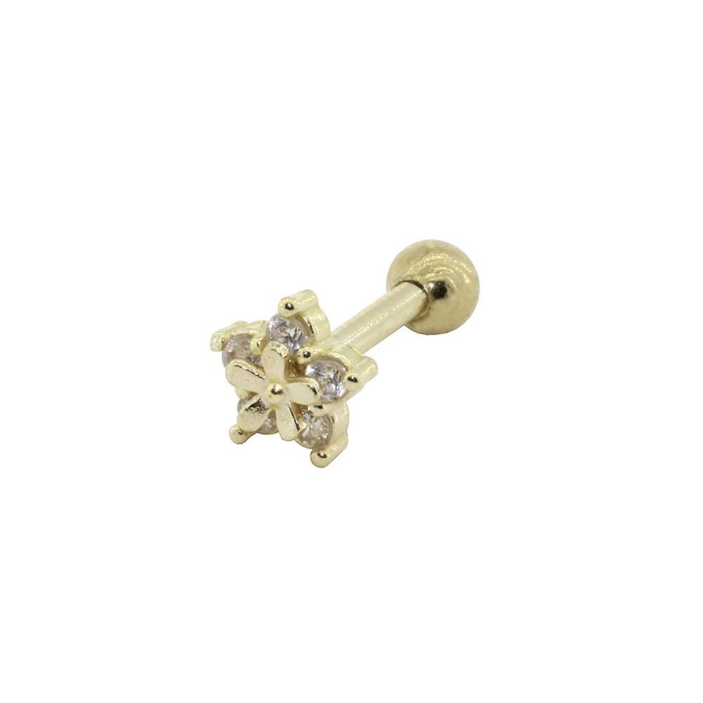 Piercing Helix em Ouro 18k Flor com Aplique