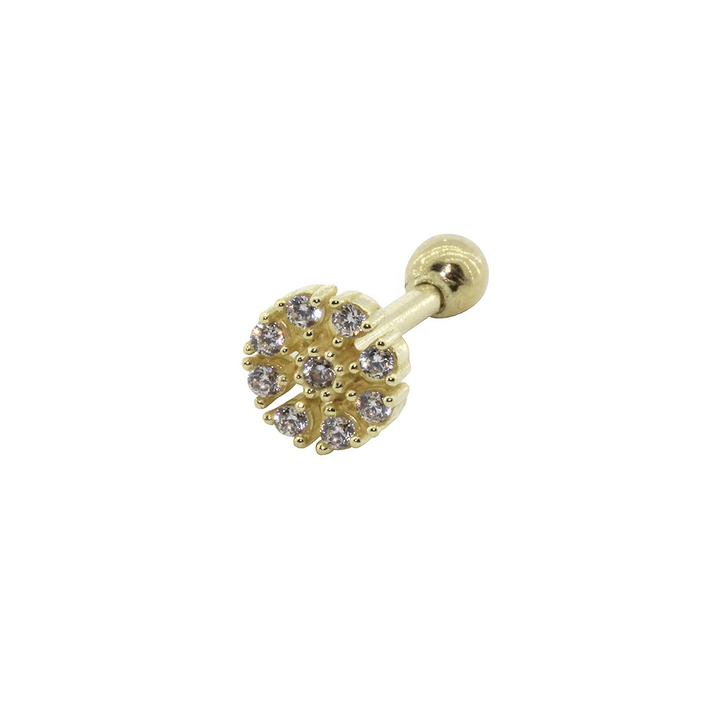 Piercing Helix em Ouro 18k Flor Cravejada