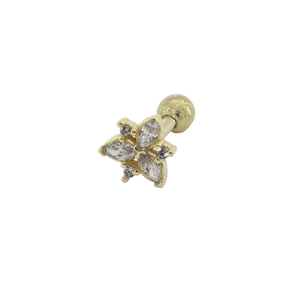 Piercing Helix em Ouro 18k Flor Navete