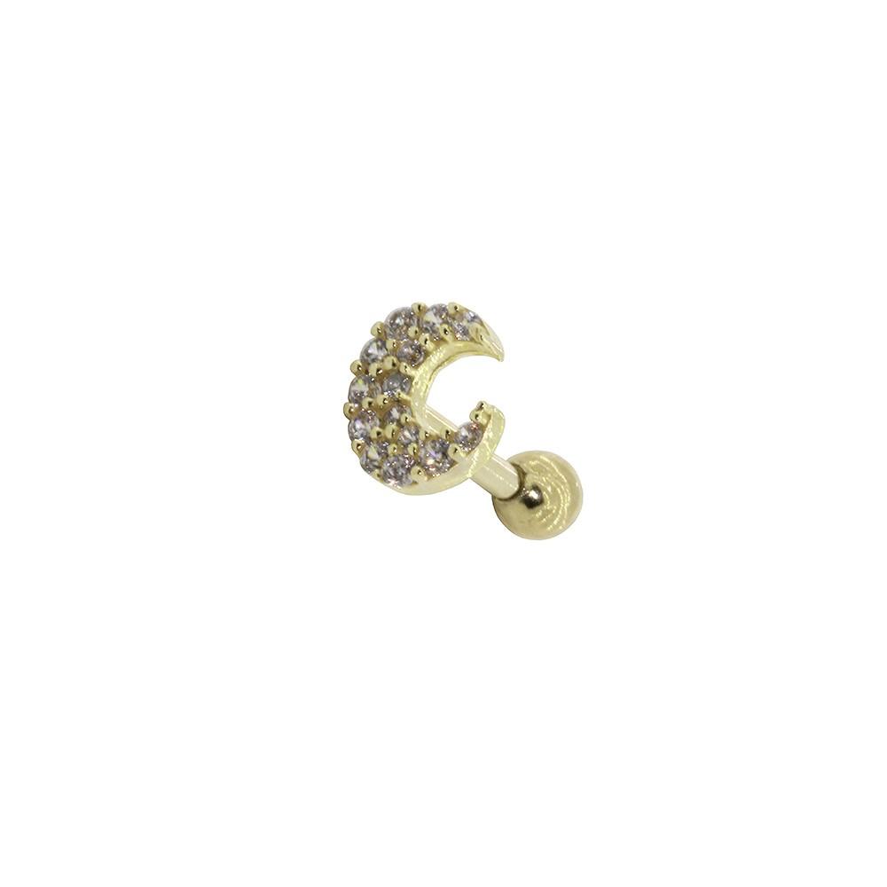 Piercing Helix em Ouro 18k Lua Cravejada