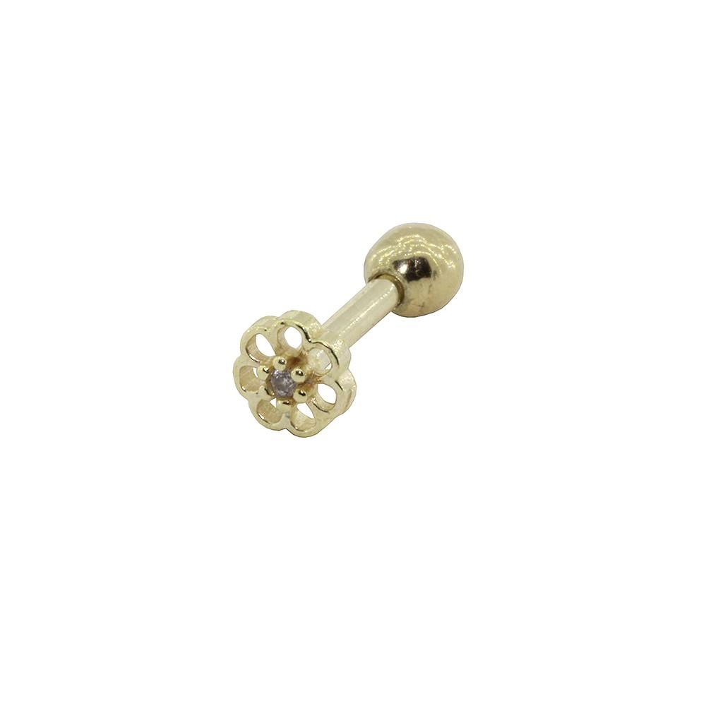 Piercing de Cartilagem em Ouro 18k Micro Flor