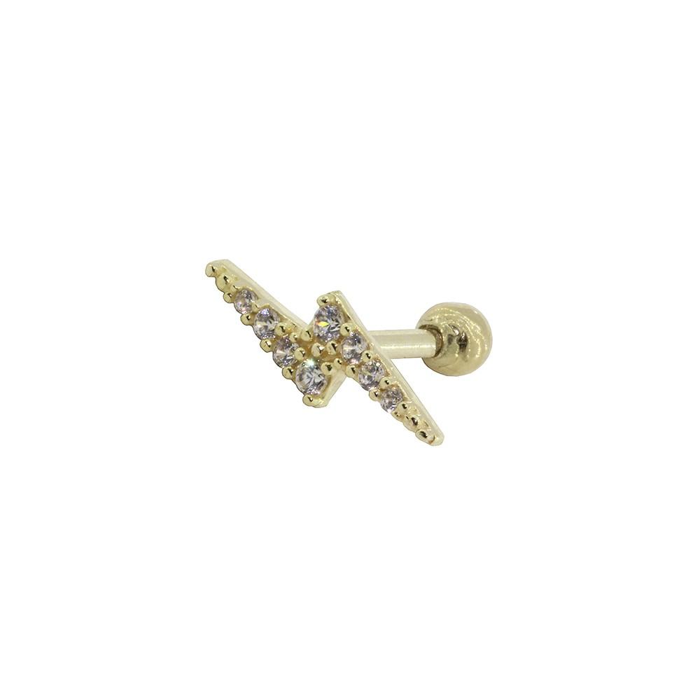 Piercing Helix em Ouro 18k Raio Cravejado