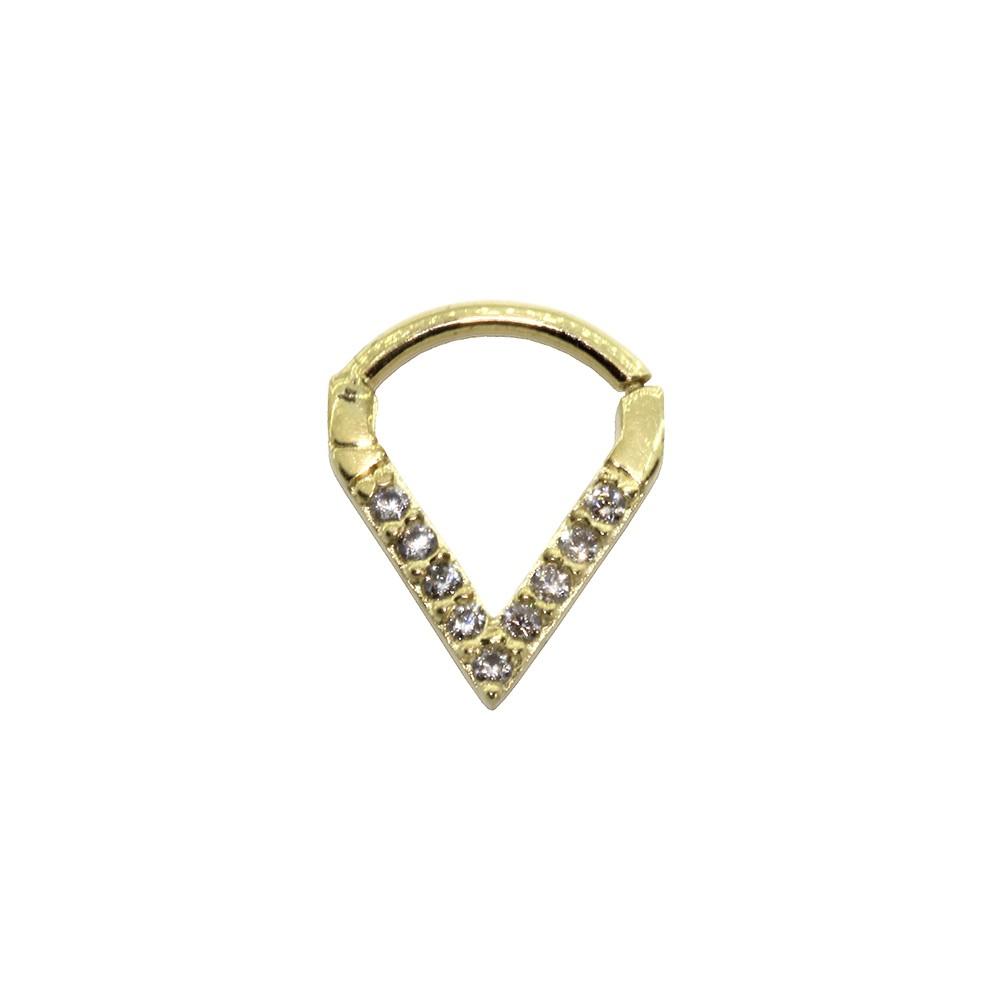 Piercing Helix em Ouro 18k Segmento Cravejado