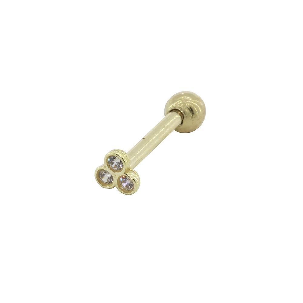 Piercing de Cartilagem em Ouro 18k Três Pedras