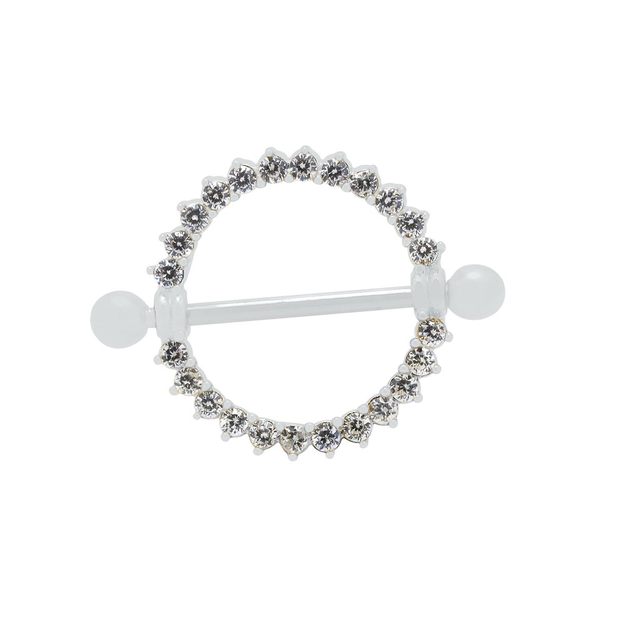 Piercing de Mamilo em Prata 925 Cravejado