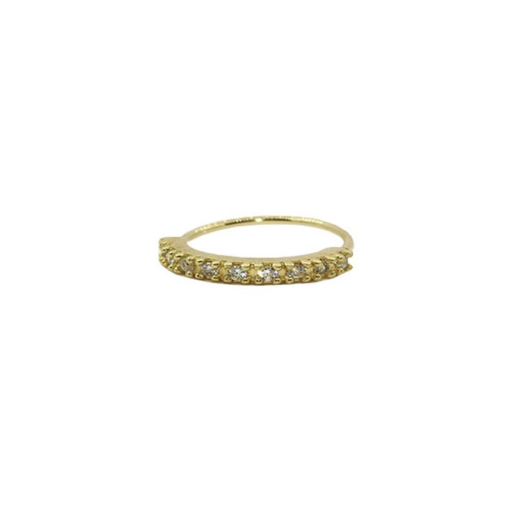 Piercing de Nariz Argola em Ouro 18k Cravejada 8mm