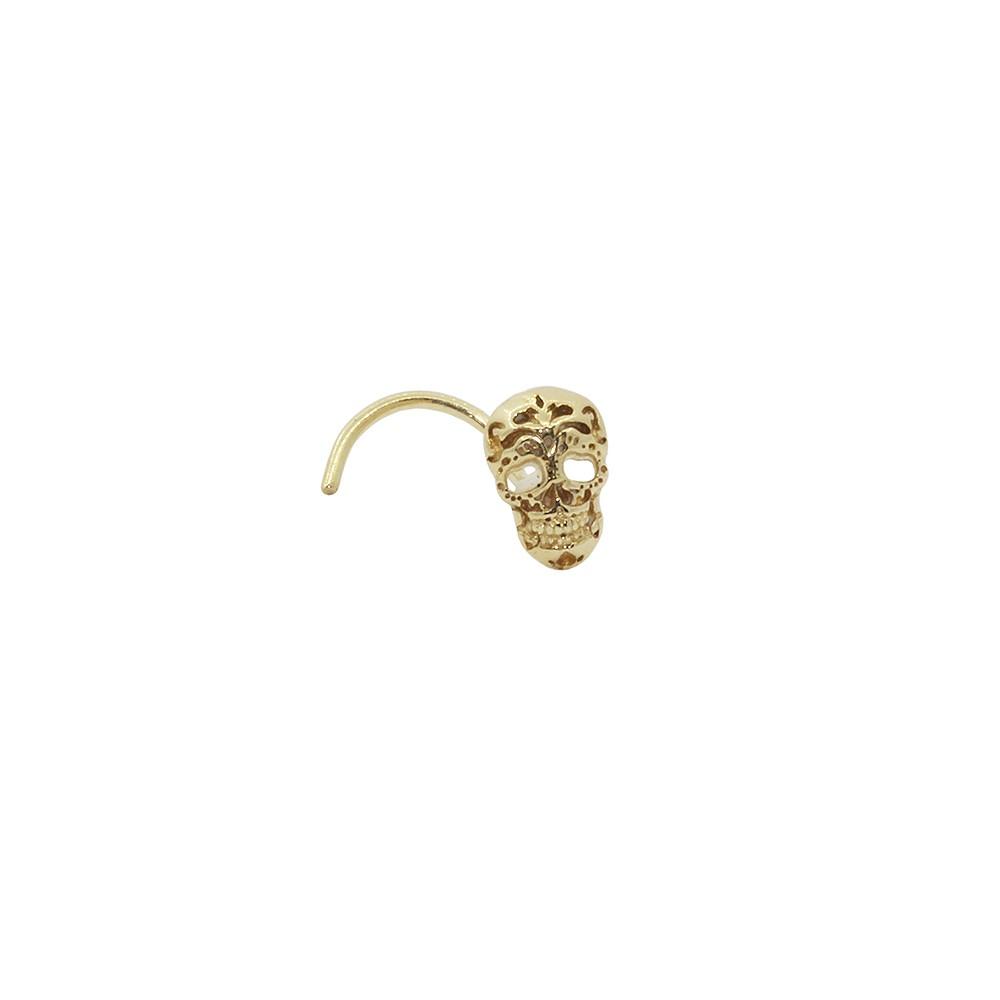 Piercing de Nariz em Ouro 18k Caveira Mexicana