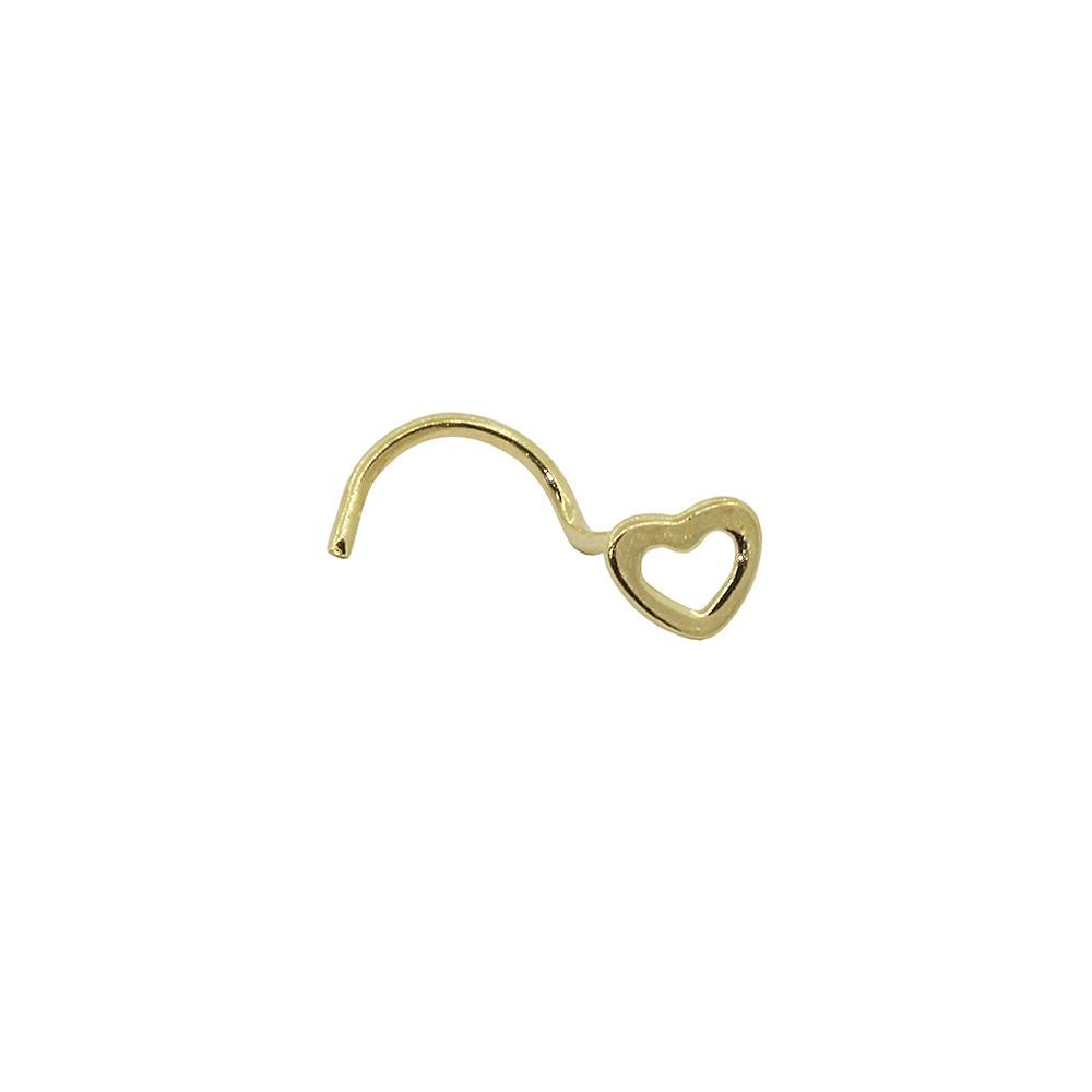 Piercing de Nariz em Ouro 18k Coração Vazado
