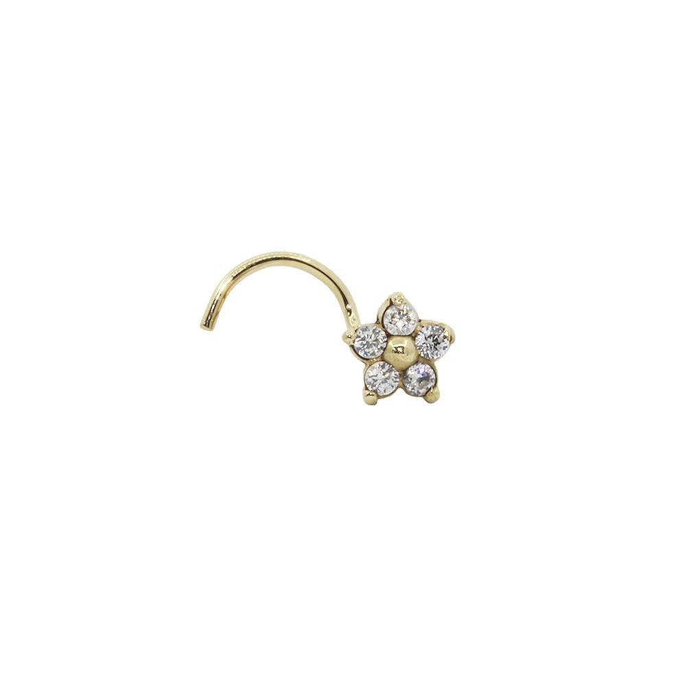 Piercing de Nariz em Ouro 18k flor 5 pedras