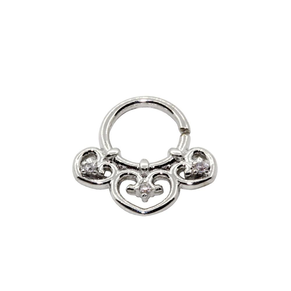 Piercing Helix de Prata 925 Argola Corações