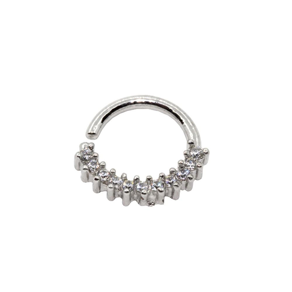 Piercing Helix de Prata 925 Argola Torção Cravejada
