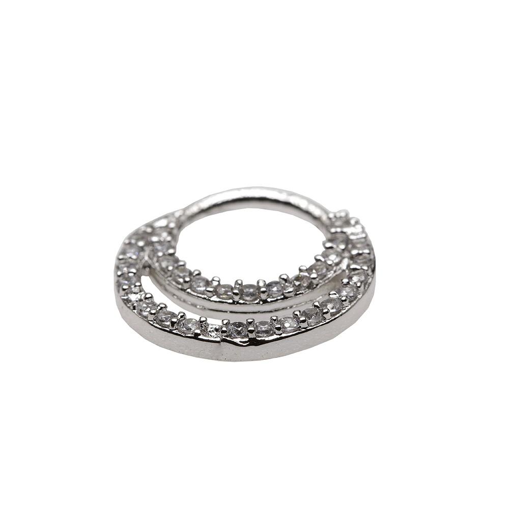 Piercing de Prata 925 Argola Daith - Helix Modelo Duplo Cravejado