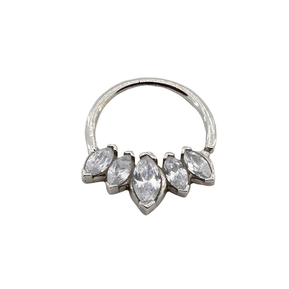 Piercing Torção Helix de Prata 925 Argola 5 Pedras