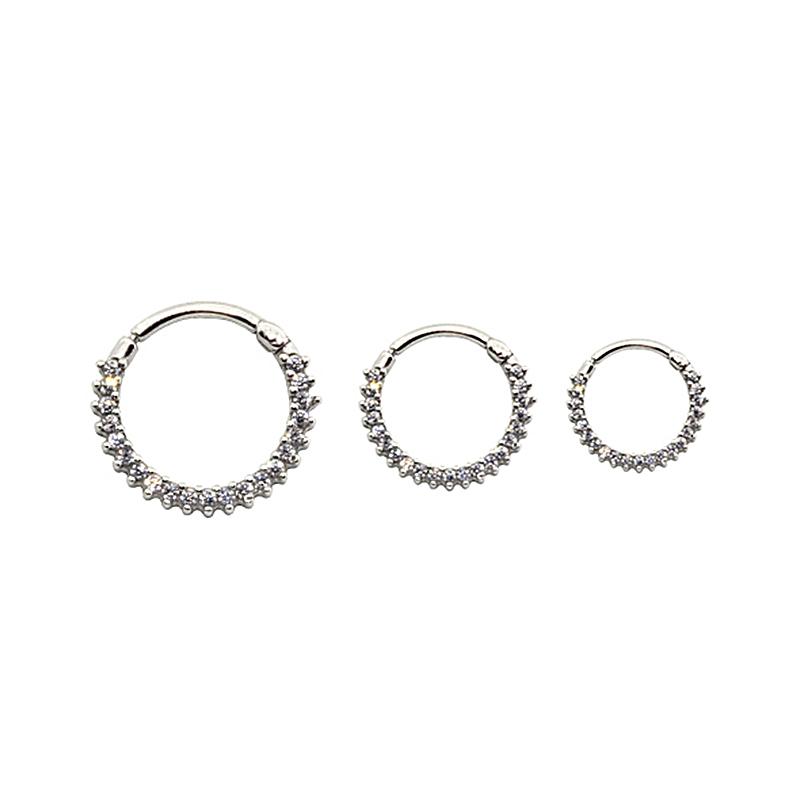 Piercing Helix - Tragus de Prata 925 Argola Segmento Cravejado