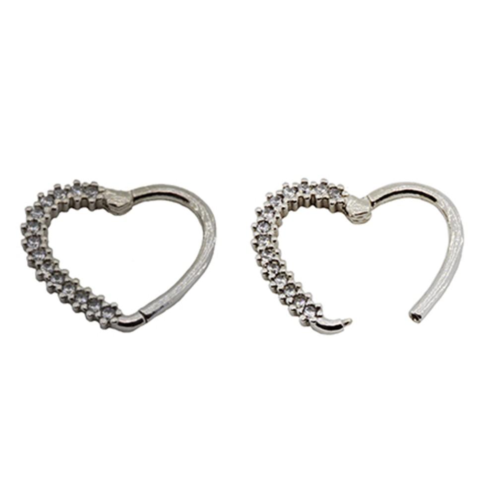 Piercing Daith de Prata 925 Segmento Coração Cravejado