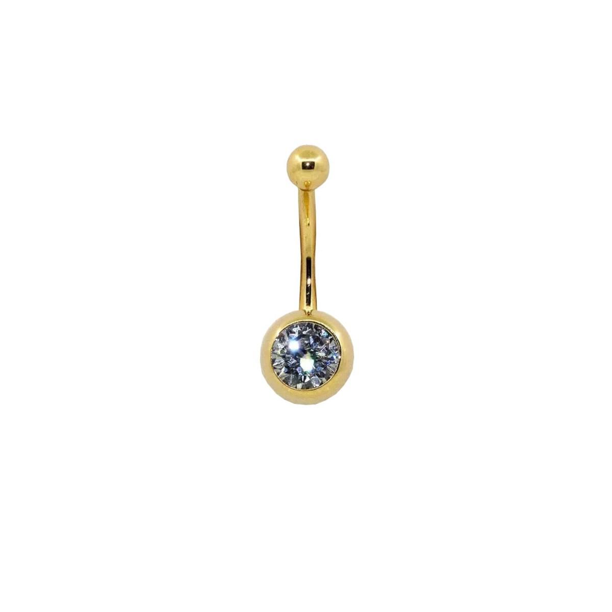 Piercing de Umbigo em Ouro 18k Bola Bola c/ Zircônia