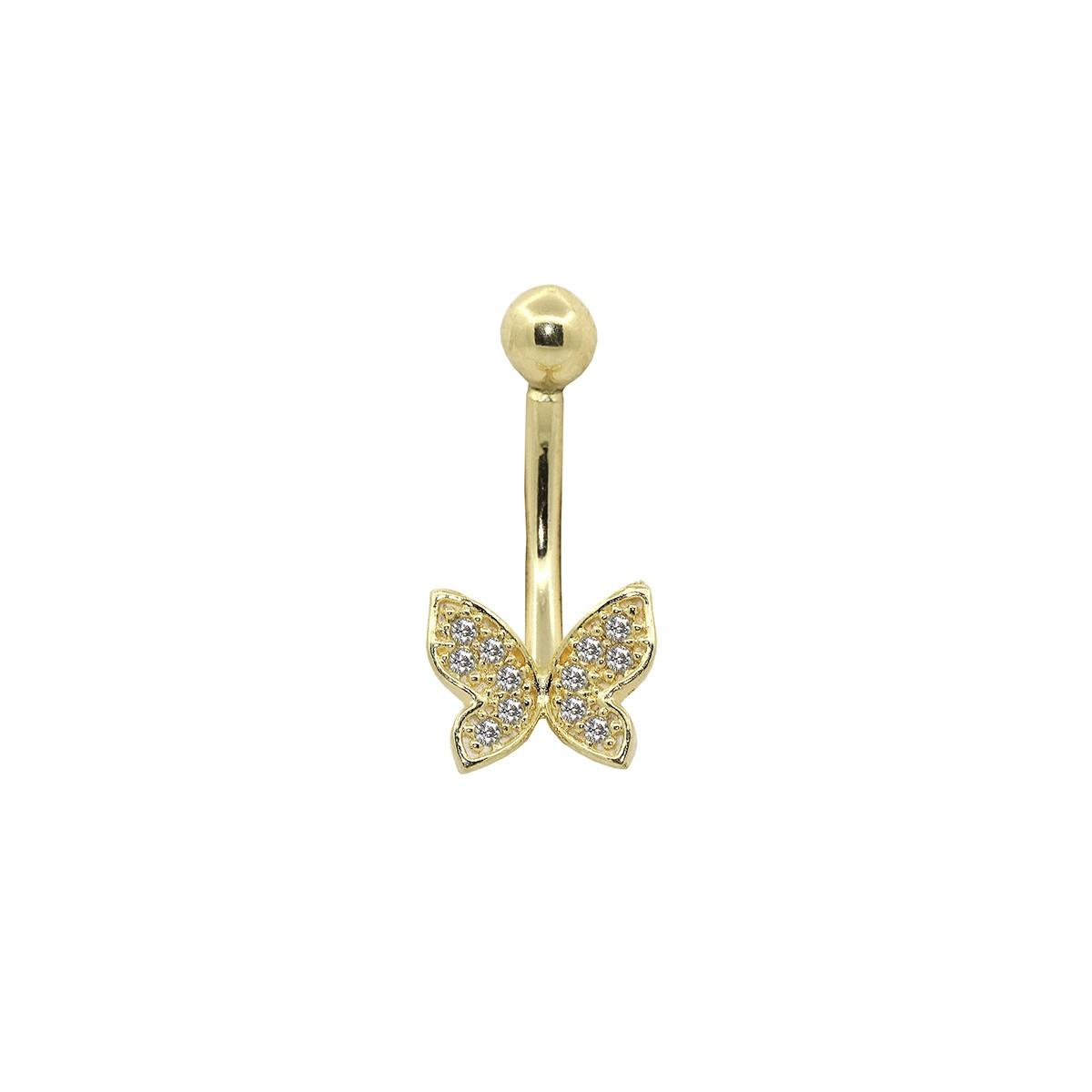 Piercing de Umbigo em Ouro 18k Borboleta Cravejada