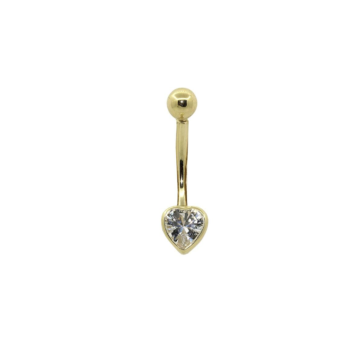 Piercing de Umbigo em Ouro 18k Coração 5mm