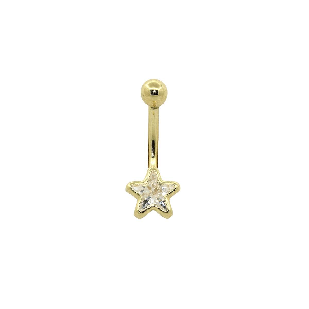 Piercing de Umbigo em Ouro 18k Estrela 6mm