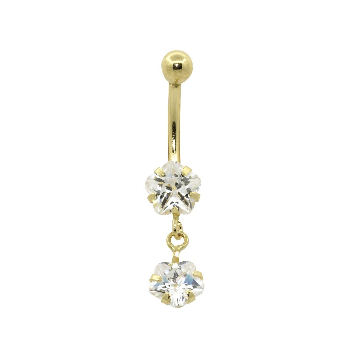 Piercing de Umbigo em Ouro 18k Flor Dupla