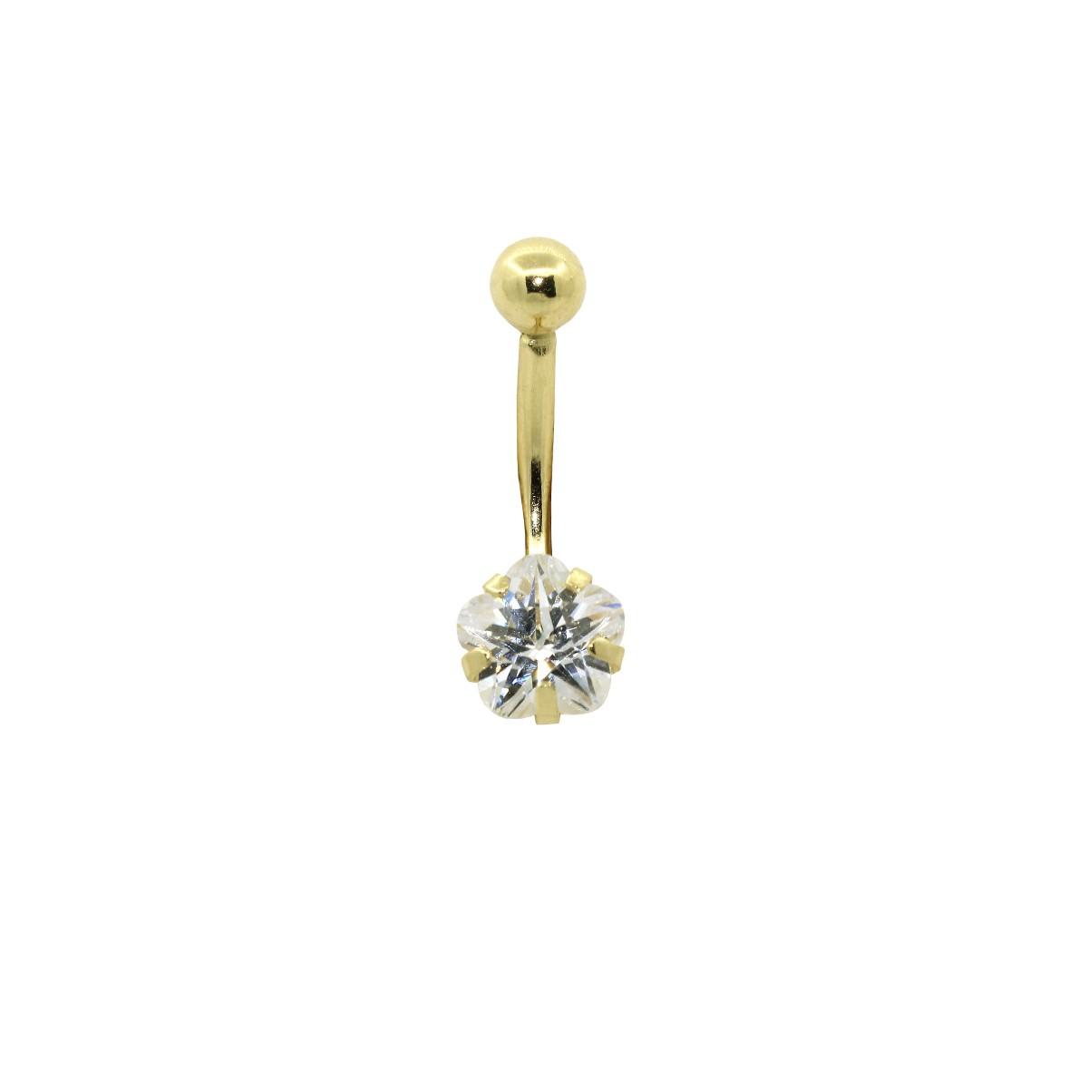 Piercing de Umbigo em Ouro 18k Flor Zircônia