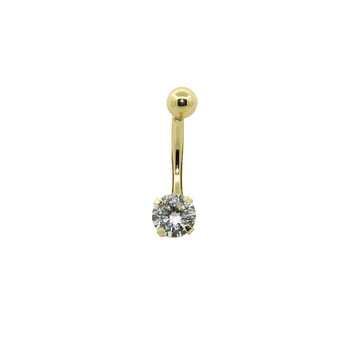 Piercing de Umbigo em Ouro 18k Pedra Redonda 5mm
