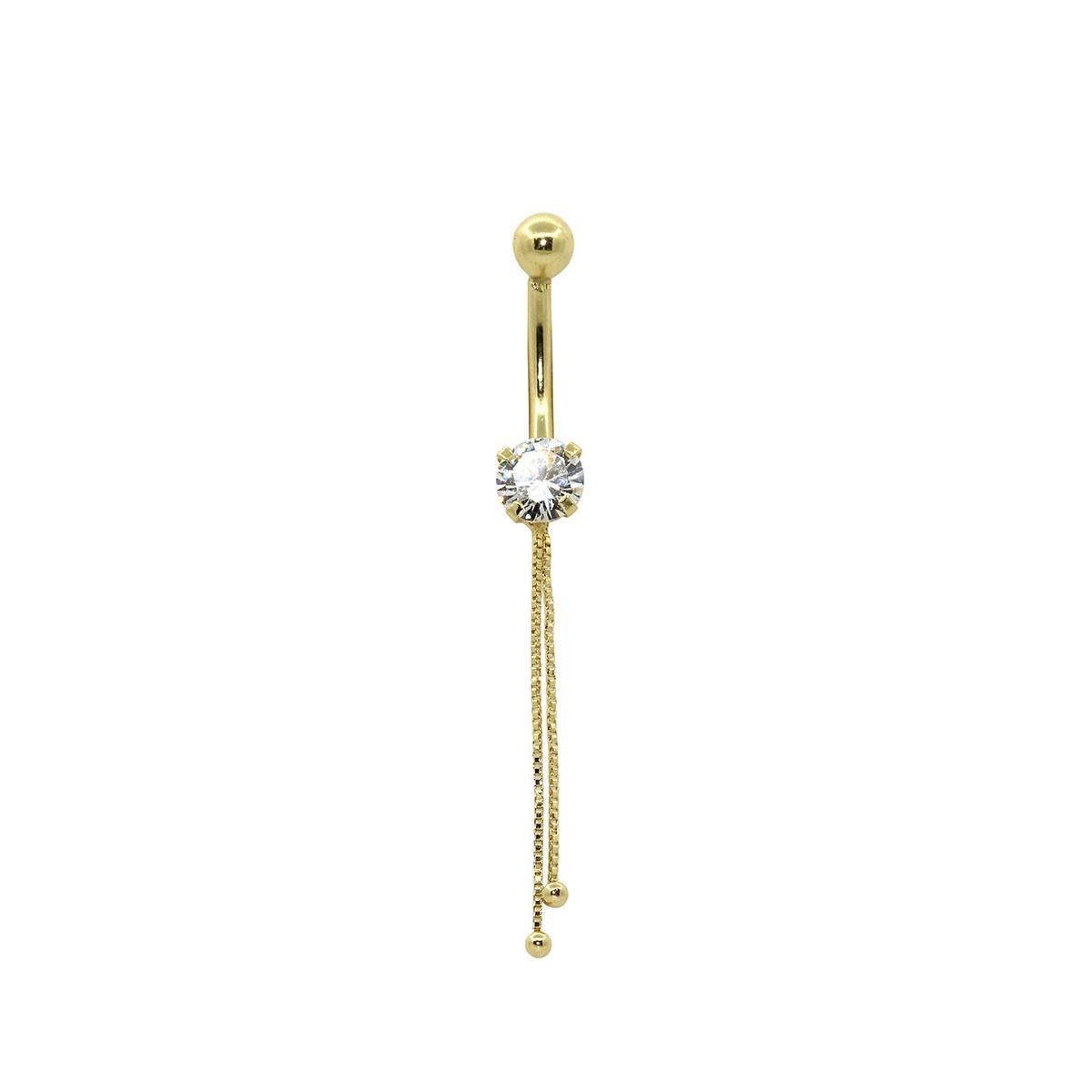 Piercing de Umbigo em Ouro 18k Pedra Redonda c/ Corrente e Bolinha