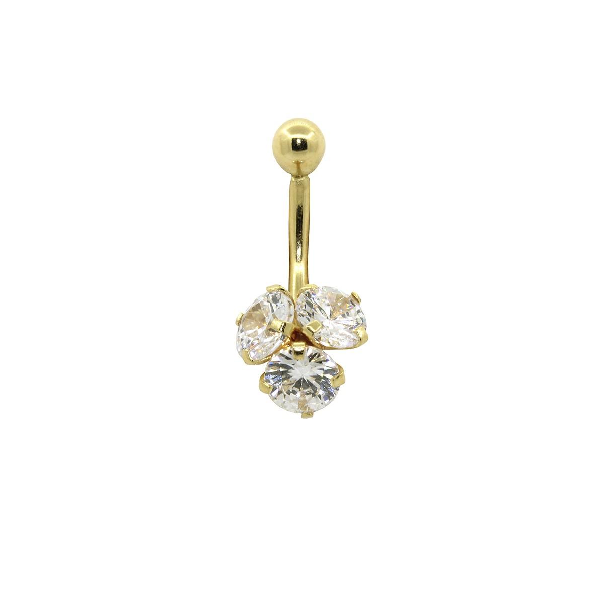 Piercing de Umbigo em Ouro 18k Três Pedras Redondas 5mm
