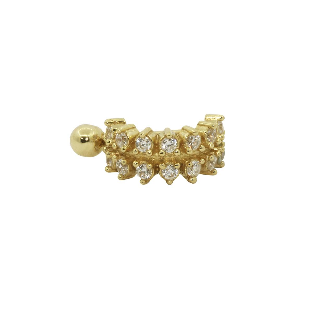 Piercing de Umbigo Haste Interna em Ouro 18k 14 Pedras