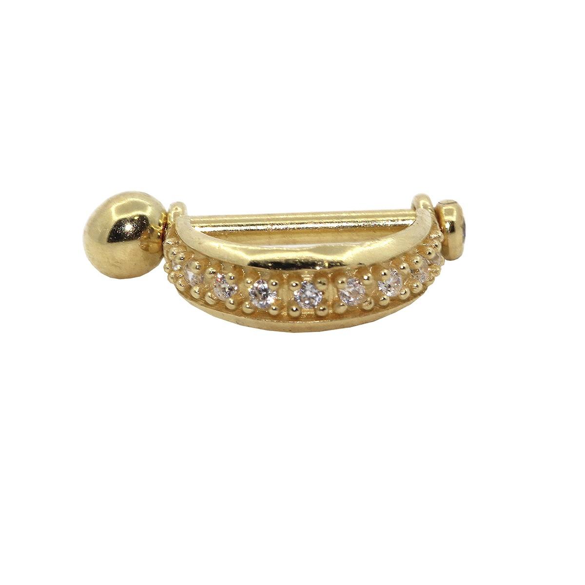 Piercing de Umbigo Haste Interna em Ouro 18k 9 Pedras