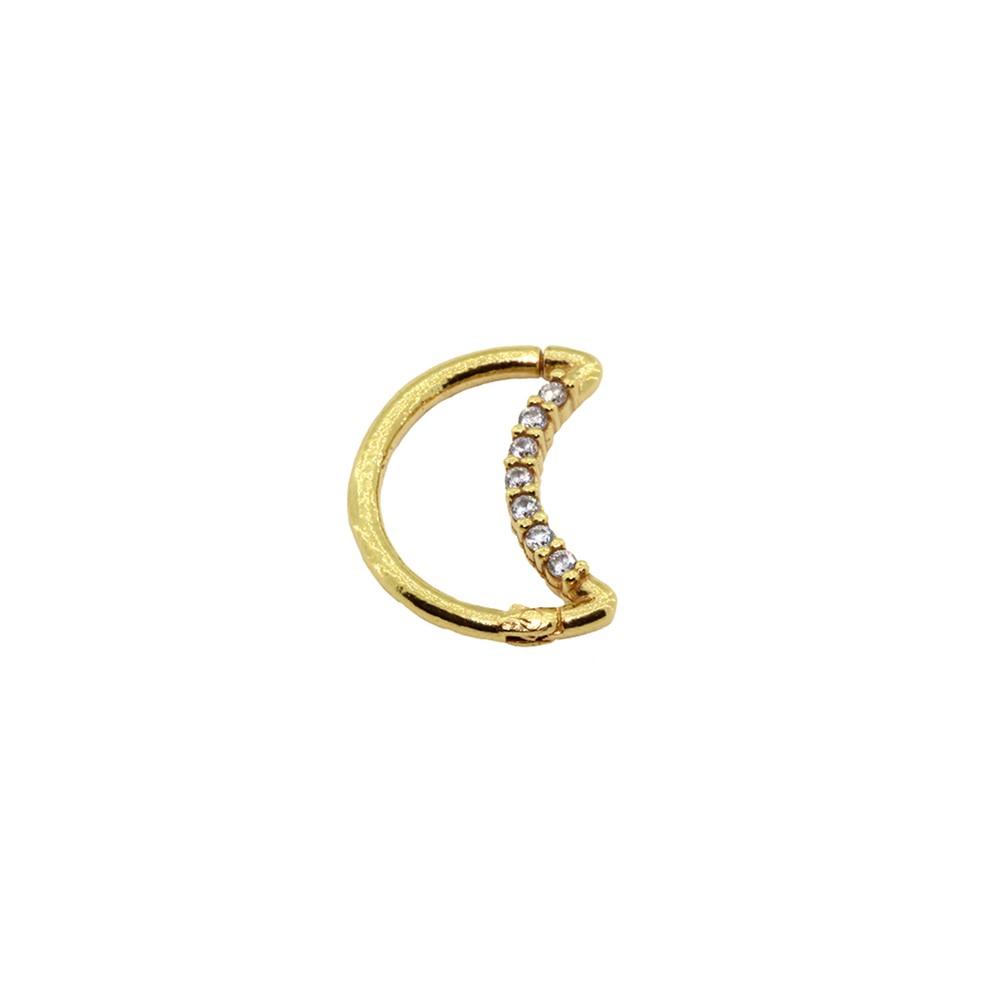 Piercing Hook - Daith em Ouro 18k Lua Cravejada