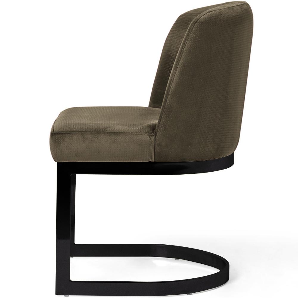 Cadeira Decorativa Cléo Com Base Preto Veludo Importado Avelã - CasaePoltrona